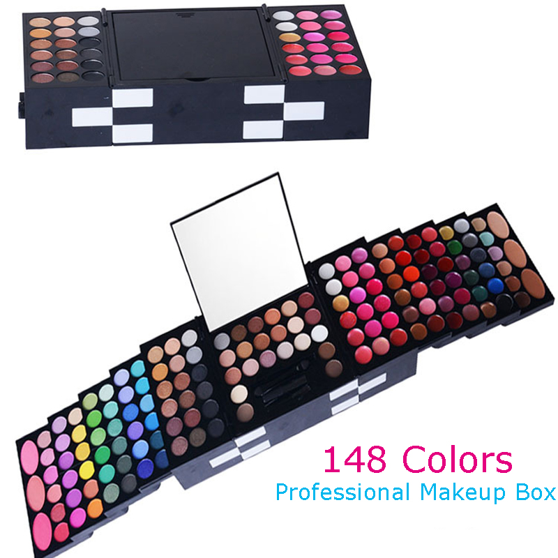 New 148 Colors Pro Makeup Palette 142 Eyeshadow+3 Blusher+3 Eyebrow Powder Natural Eye Makeup Kit Full Combination Make Up Box 144 colors matte eyeshadow palette earth color eye shadow pressed powder natural face blush blusher palette eyebrow powder kits