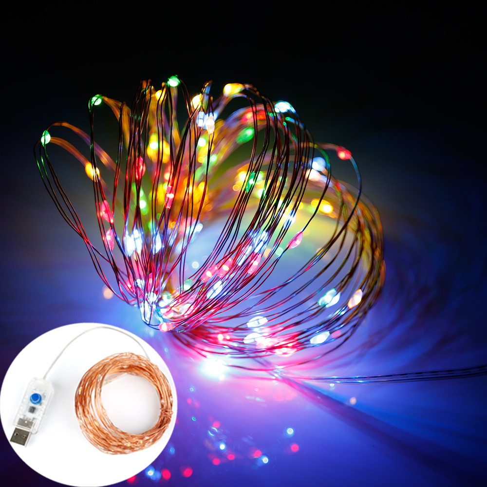 OSIDNE  LED String 8 Mode 33FT 10M 100LED 5V USB Silver Copper Wire Fairy String Lights Indoor Outdoor Christmas Wedding Decor