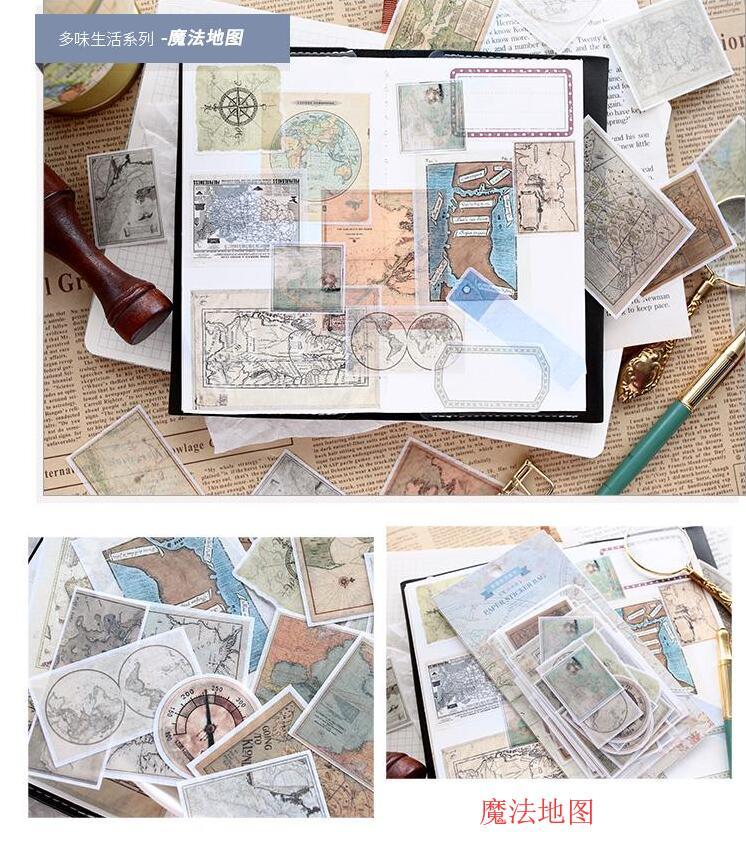 60pcs/pack Vintage Magic Map Retro Hemisphere Old Map Collage Decorative Sticker DIY Scrapbooking Label Planner Album Escolar