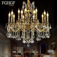 Large Crystal Chandelier Light Luxury Chandeliers Lamp Bronze Color Lighting Lustre E14 E12 Lamp for living room Bedroom Hotel