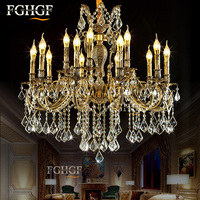 Large Crystal Chandelier Light Luxury Chandeliers Lamp Bronze Color Lighting Lustre E14 E12 Lamp for living room Bedroom Hotel
