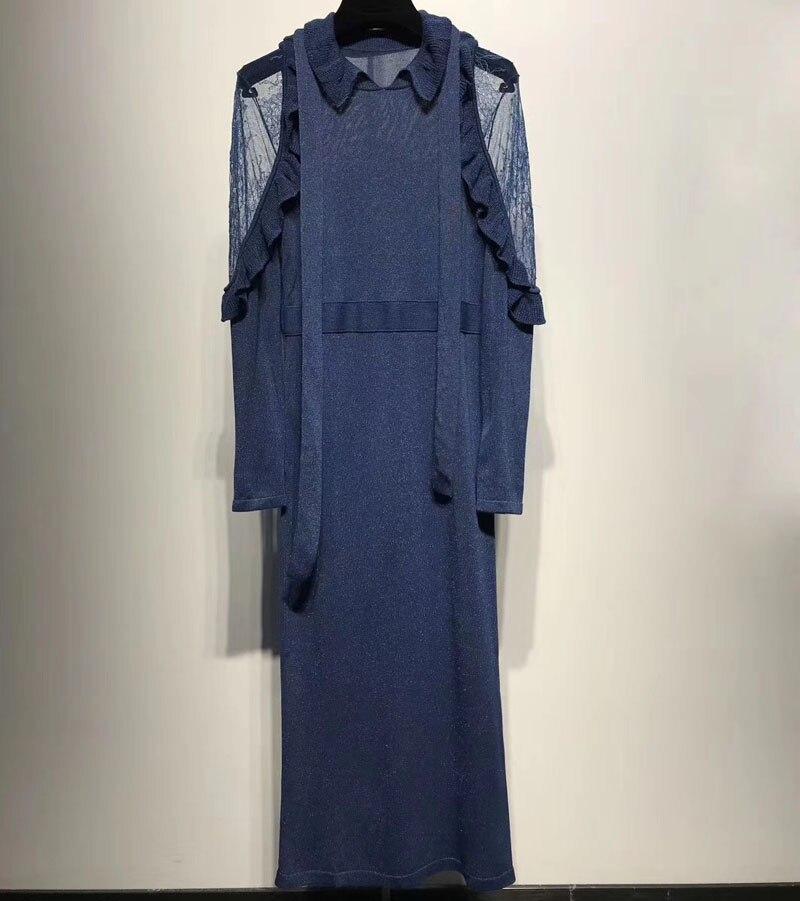 knitted dress for women 2018 sprint long sleeve dress fashion ruffles solid dress