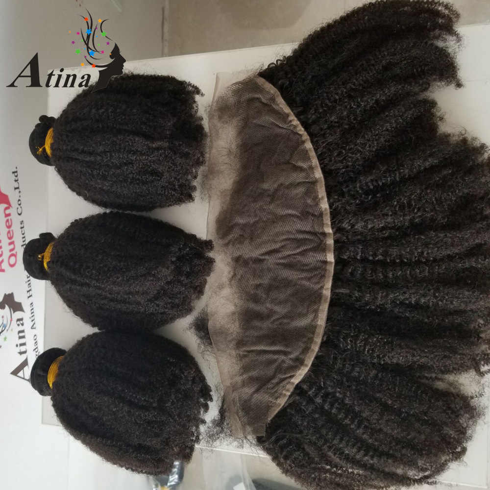 Brazilian Hair Weave Bundles With Pre Plucked Frontal Afro Kinky Curly 3 Human Hair Bundles With 13x4 Lace Frontal Closure Atina
