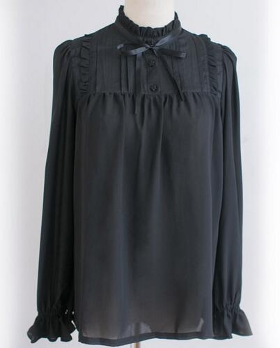 font b Classic b font Sweet Ruffled High Collar Long Sleeve Black White Chiffon Girl