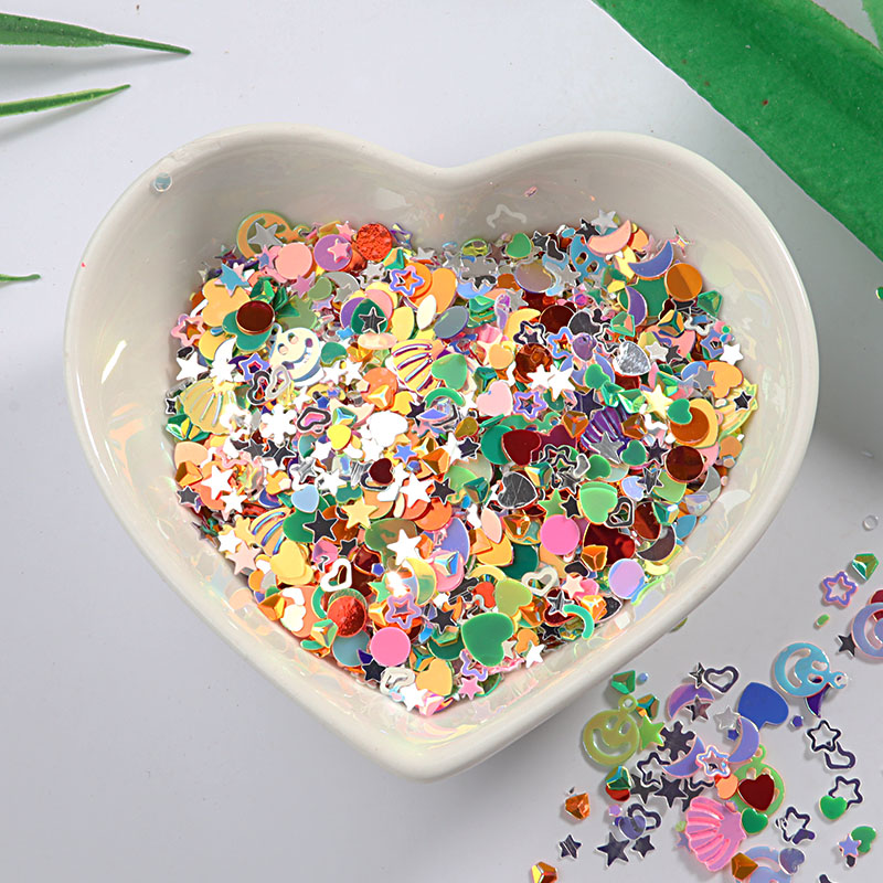 10g/Pack Multiple colors Star Heart Moon Sequins for Nail art ,Brilliant Glitter DIY PVC Loose Nail Sequin, Wedding Decoration