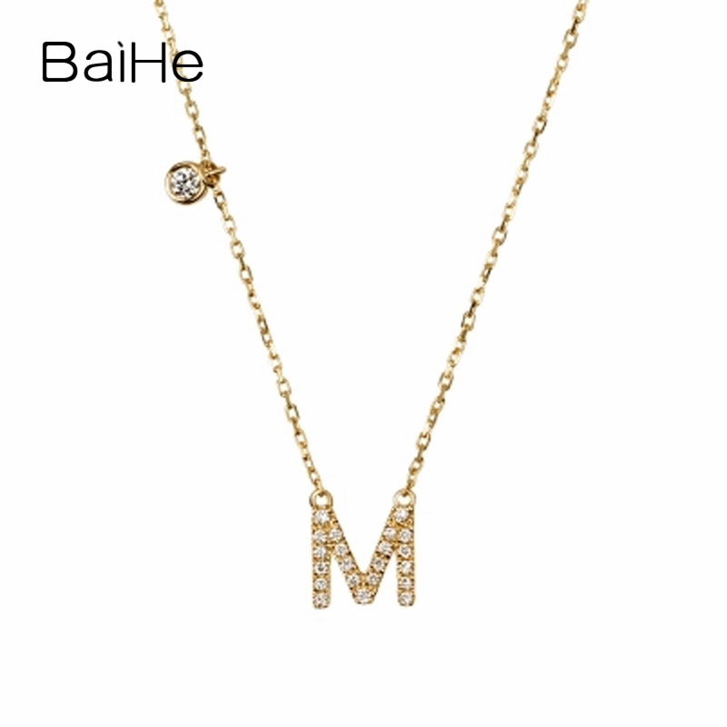 BAIHE Solid 18K Yellow Gold 0.10ct Certified F-G/SI 100% Genuine Natural Diamonds Engagement Women Trendy Fine Jewelry Necklaces baihe solid 18k yellow gold au750 engagement