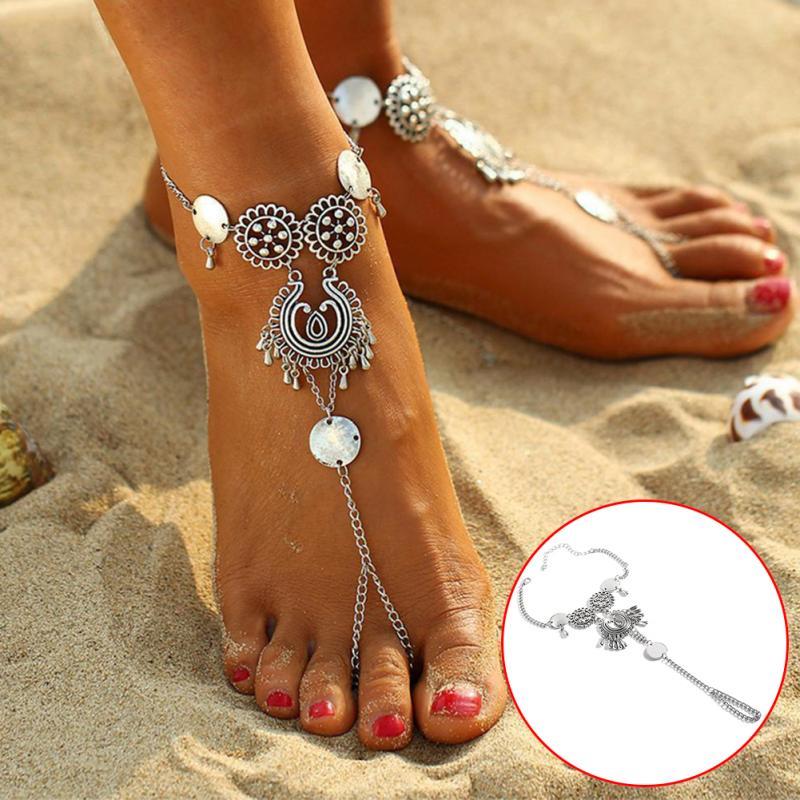 Women Bohemian Lotus Moon Beach Anklets Foot Chain Shell Pendant Bracelets