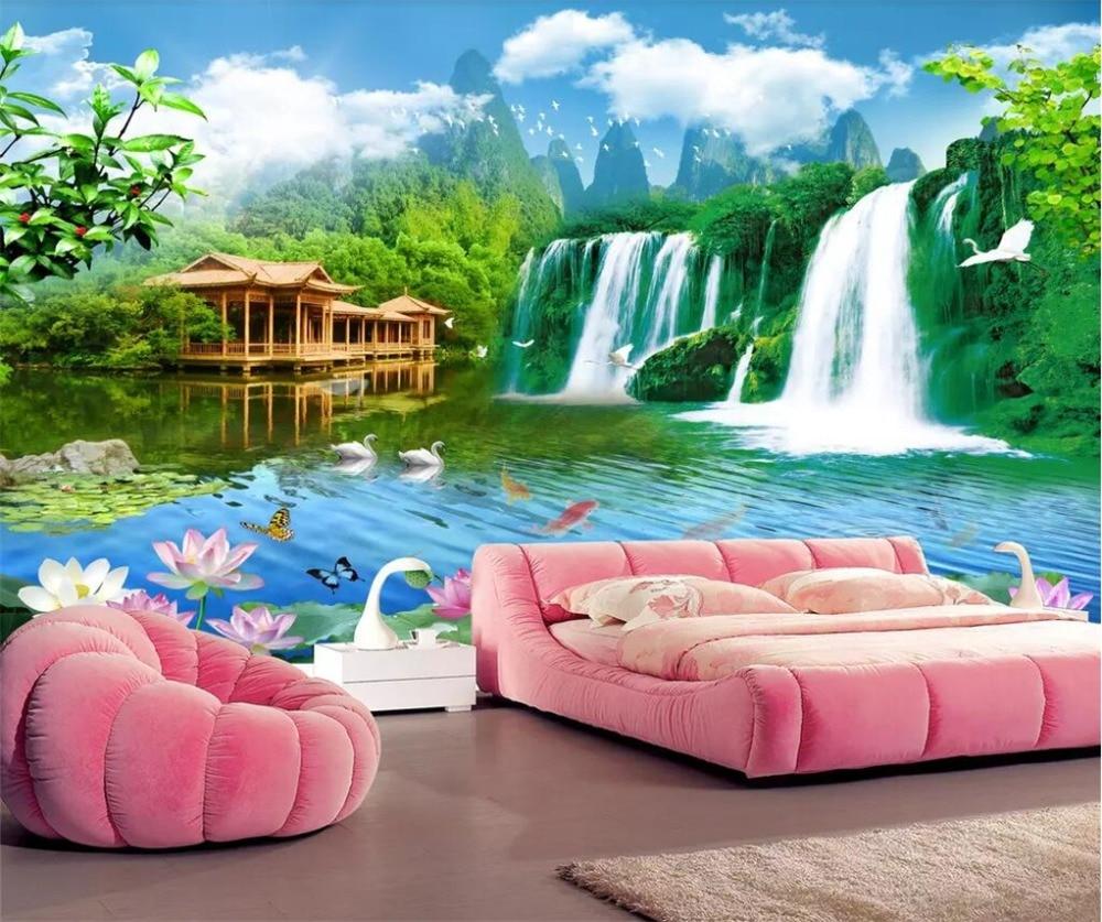 US $8 4 OFF Beibehang Wallpaper Kustom 3D Foto Mural Pegunungan Dan Air Acara Terbaik Pemandangan Ruang Tamu Wallpaper 3d Papel De Parede Custom