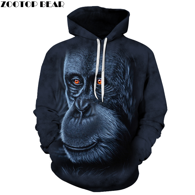 Unisex Gorilla Hoodie 3D Print Sweatshirts Pullover Harajuku Animal Mens Hoody Streetwear Coat for Autumn 2018 Cloth 6XL Size