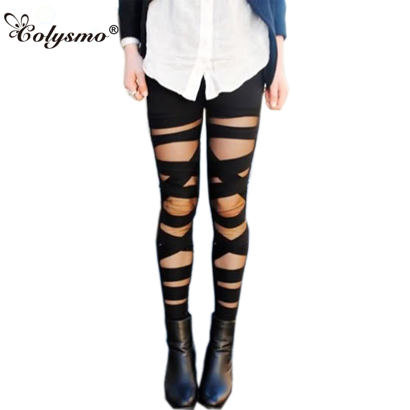 266172aa756f40 Colysmo Women's Cut-out Bandage Lace Leggings Pant Autumn Spring Summer  Mesh Insert Cross Pants