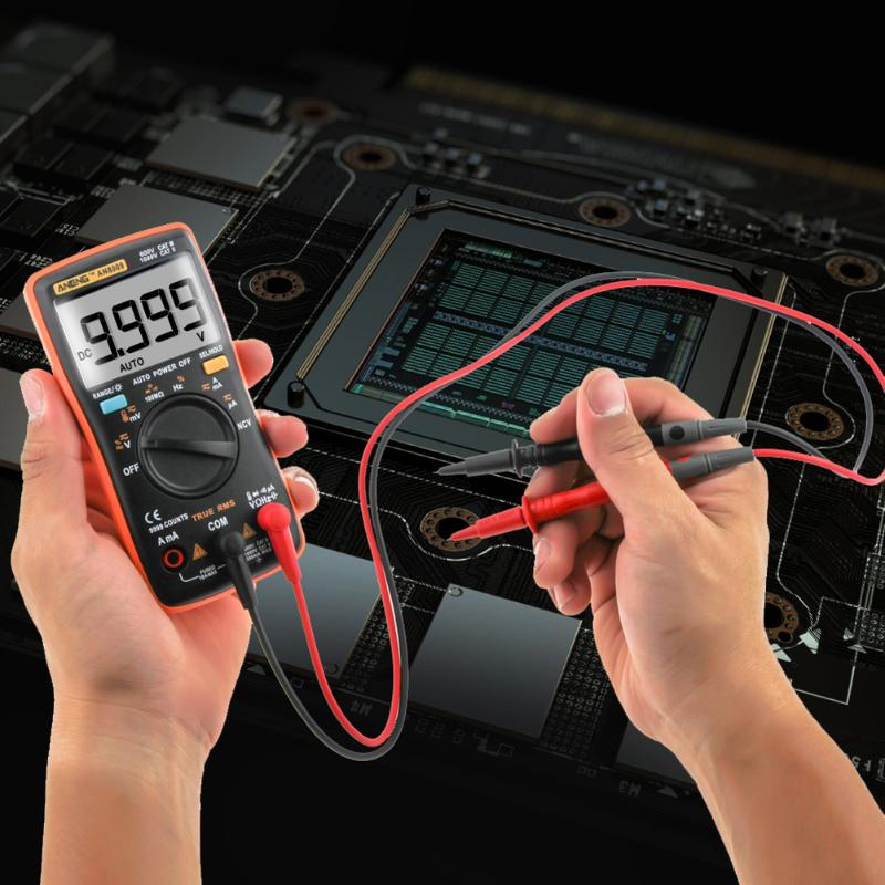 Profession AN8009 True-RMS Auto Range LCD Digital Multimeter NCV Ohmmeter AC/DC Electrical Tester Measurement with Storage Bag an8009 auto range lcd digital multimeter full protection ac dc voltmeter ammeter ohm capacitance ncv electrical tester