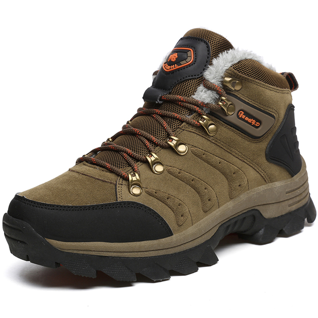 0b80f7f6d0d US $26.62 39% OFF|Big size Men Hiking Shoes Waterproof Women Winter Snow  Boots Warm Plush Mountain Climbing Sneakers Non slip Trekking Hunting-in ...