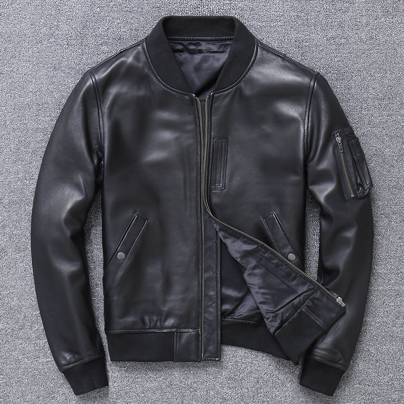 Free Shipping.Brand New Man Genuine Leather Coat,men's Soft Sheepskin MA-1 Jacket.classic Bomber Pilot Jackets.fashion Clothes