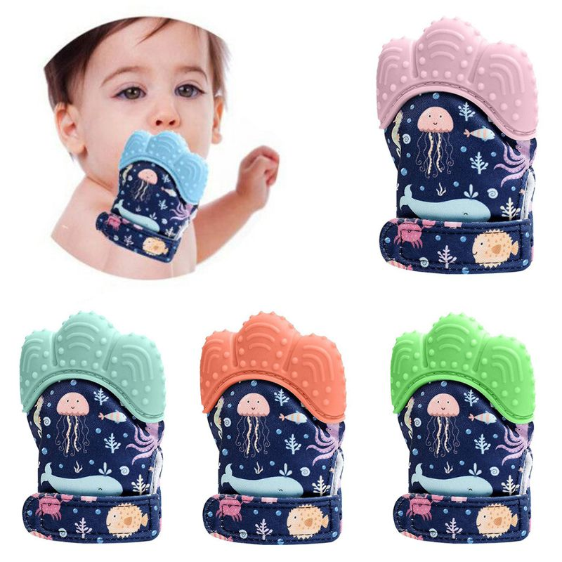 Baby Teether Gloves Squeaky Grind Teeth Oral Care Teething Pain Relief Newborn Bite Chew Sound Toys Adjustable Silicone