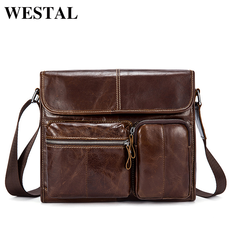 WESTAL Genuine Leather Men's Bag Messenger Bag Men Leather Shoulder Bags Sling Small Black Mens Crossbody Bags ipad Satchels 380 casual canvas satchel men sling bag