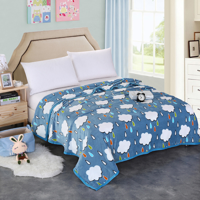 Size Of A Throw Blanket Adorable Cartoon Blue White Cloud Blankets Thicken Flannel Twin Full Queen