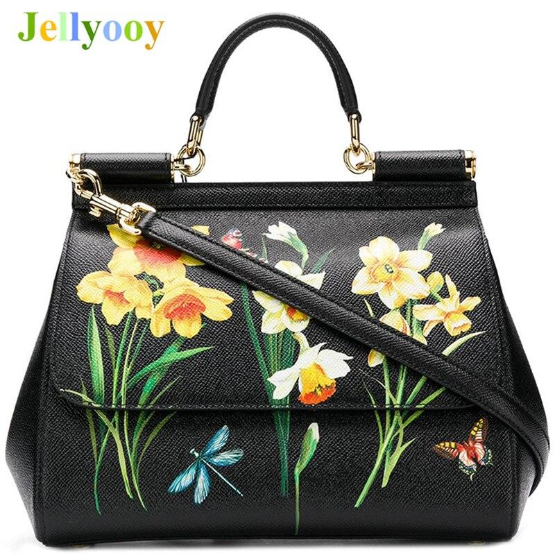 2018 Genuine Leather Luxury Handbags Women Bags Designer Famous Drands Miss Sicily' Floral Print Satchel Bag Black Shoulder Bags retro women s satchel with canvas and floral print design