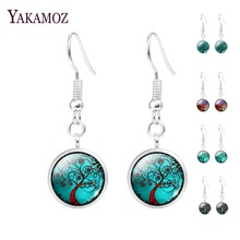 Wholesale Tree Of Life Glass Cabochon Hanging Earrings Jewelry For Women Silver Plated Long Drop Statement Earrings Women 2017