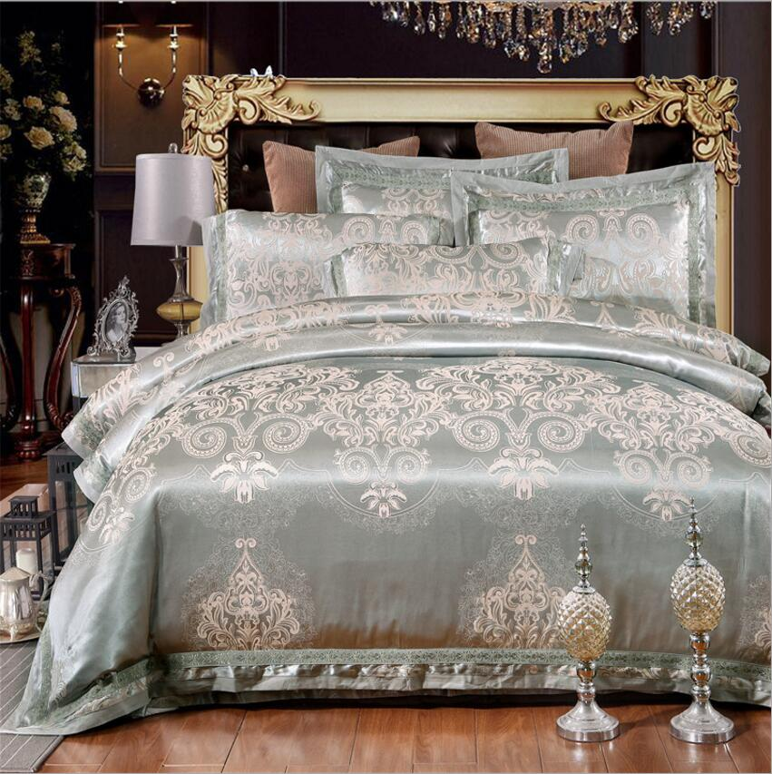 Jacquard Bedding Set Queen King Size 4pcs Luxury Silk