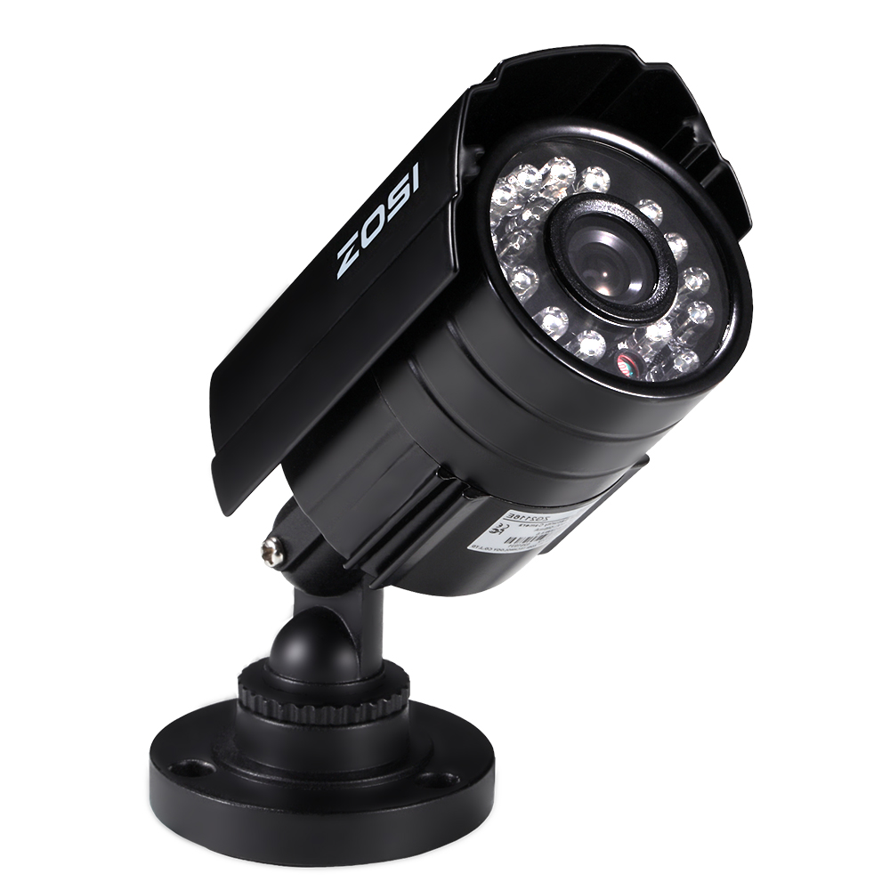 ZOSI 720P AHD 1280TVL CCTV Security Camera ,3.6mm Lens 24 IR LEDs, 65ft Night Vision ,Outdoor Whetherproof Surveillance Camera