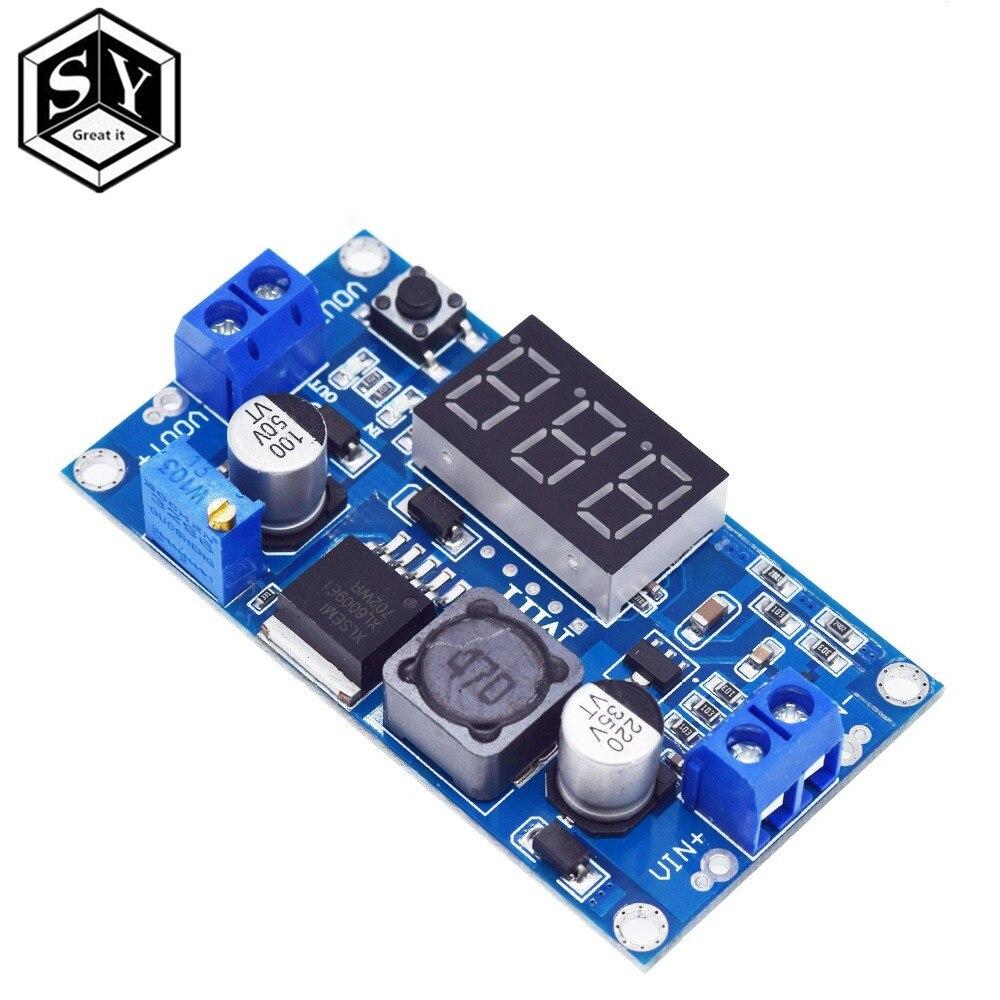 DC-DC xl6009 impulso digital step up módulo de fonte de alimentação ajustável 4.5-32 v a 5-52 v regulador de tensão step-up com voltímetro led