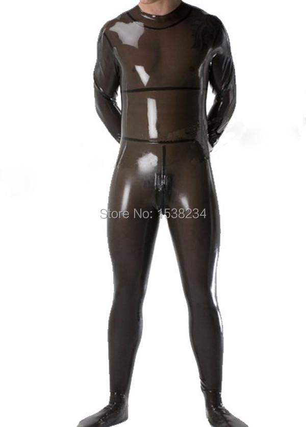 Latex Catsuit Men Sexy Rubber Transparent Black Catsuit Men Sexy Rubber Zentai Catsuit