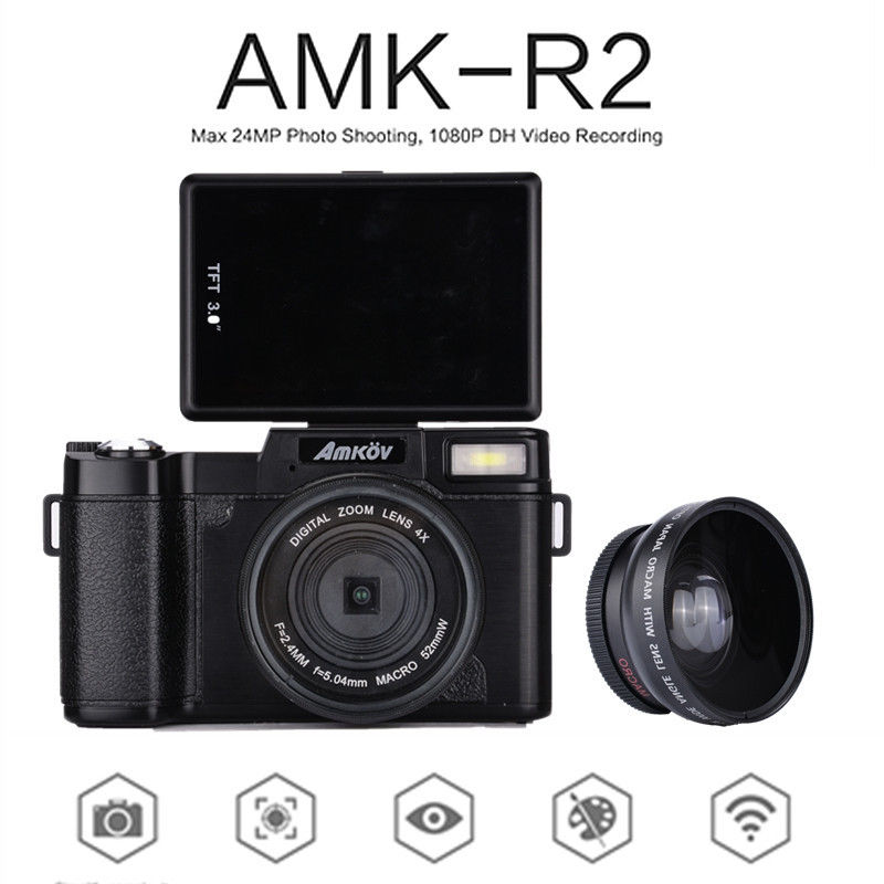 Amkov AMK-R2 24MP HD 1080P 180 Rotatable Screen Portable Digital Cameras +Lens