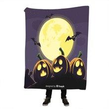 Halloween Pumpkin Printing Sherpa Blanket Pink and Purple Glowing Mandala Pattern Fleece Fuzzy Microfiber