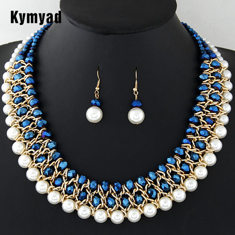 Kymyad Imitation Pearl Jewelry Sets For Women African