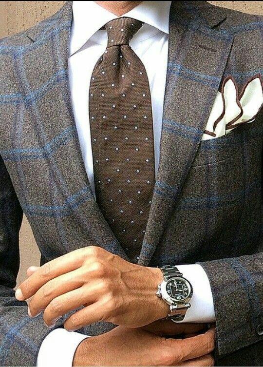 Custom Made Grey and brown windowpane plaid Tweed Men Slim