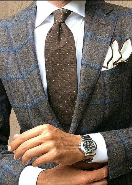 Custom Made Grey and brown windowpane plaid Tweed Men Slim Fit Suits/Weddding Suit For Men/Two Button Men Blazer(Jacket+Pant)