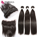 13x4 Lace Frontal Closure With 3 Bundles 7A Brazilian Virgin Straight Hair With Closure Ear To Ear Lace Frontal with Human Hair