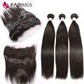 13x4 Lace Frontal Encerramento Com 3 Bundles Brasileiro Virgem 7A Reta cabelo Com Orelha A Orelha Fechamento Lace Frontal com Cabelo Humano