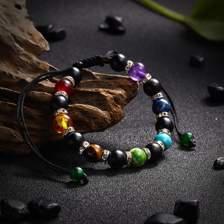 Classic Chakra 8mm Lava Stone Beads 7 Color Chain Bracelets for Women Men Elastic Rope Yoga Fashion A Bracelet Friendship 14