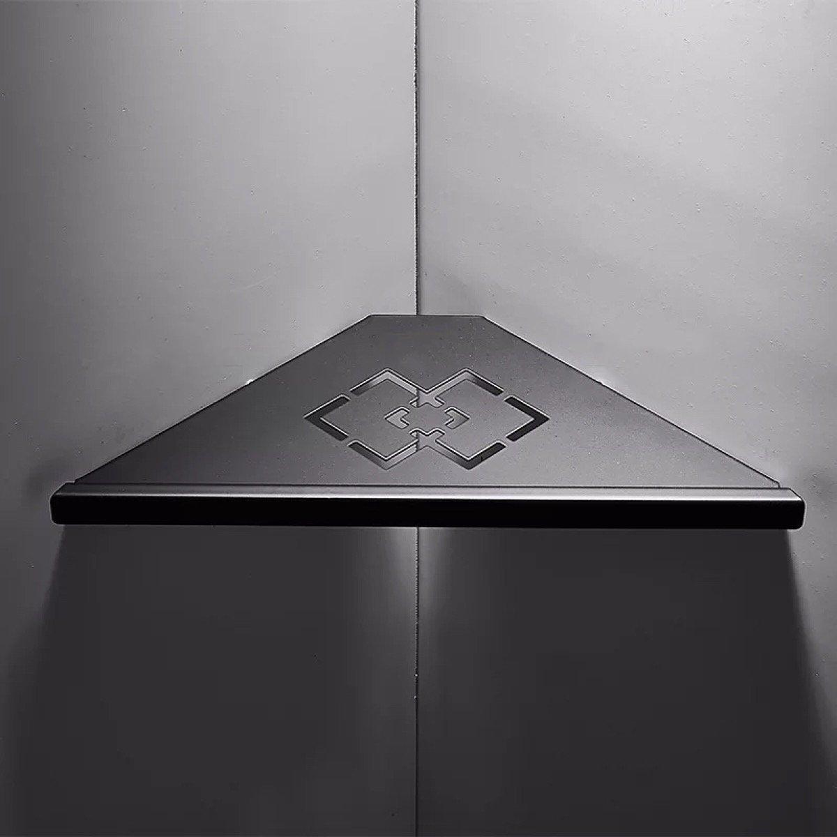 Us 15 99 20 Off Carved Hollow Out Black Matte Corner Shower Holder 304 Stainless Steel Bathroom Shelf 1 Layer In Bathroom Shelves From Home