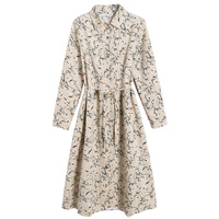 Women Dress Spring new Print vintage frock lace up Girl's dresses Female Fashion Simple Rope Apricot XXL XL