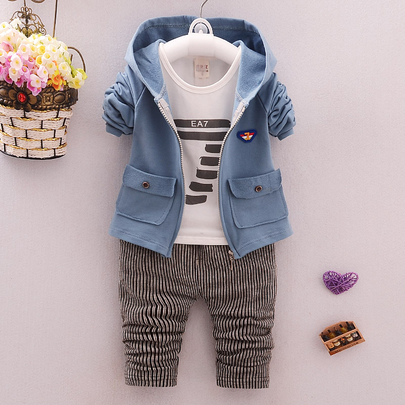 2017 Spring Autumn Baby Boys Clothes Sets Hooded Coats+T Shirt+Pants 3 PCS Casual Infant Cotton Suits Children Kids Stripe Suits