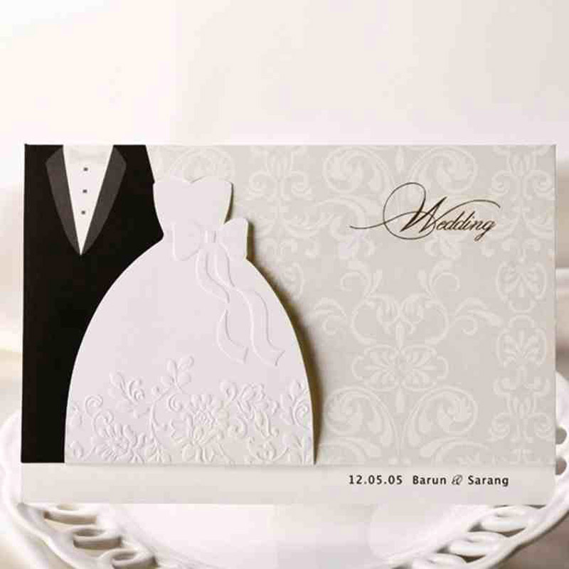 1pcs Sample Groom & Bride Clothes Customizable Printable Wedding Invitations Cards With Envelopes Event & Party Supplies 1pcs sample laser cut bride and groom marriage wedding invitations cards greeting cards 3d cards postcard event party supplies