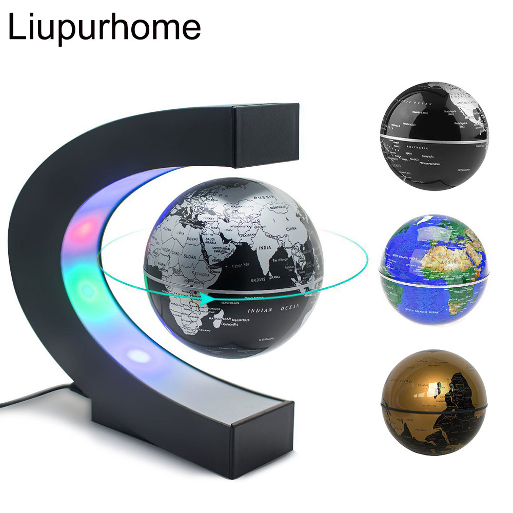 Creative Magnetic Levitation Globe LED Night Light Indoor Decor World Map Antigravity Bedside Table Lamp Children Study Gift MYC