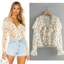 new spring summer blouse for women long sleeve v neck ruffles sweet chiffon ladies blouses and shirts dot print button