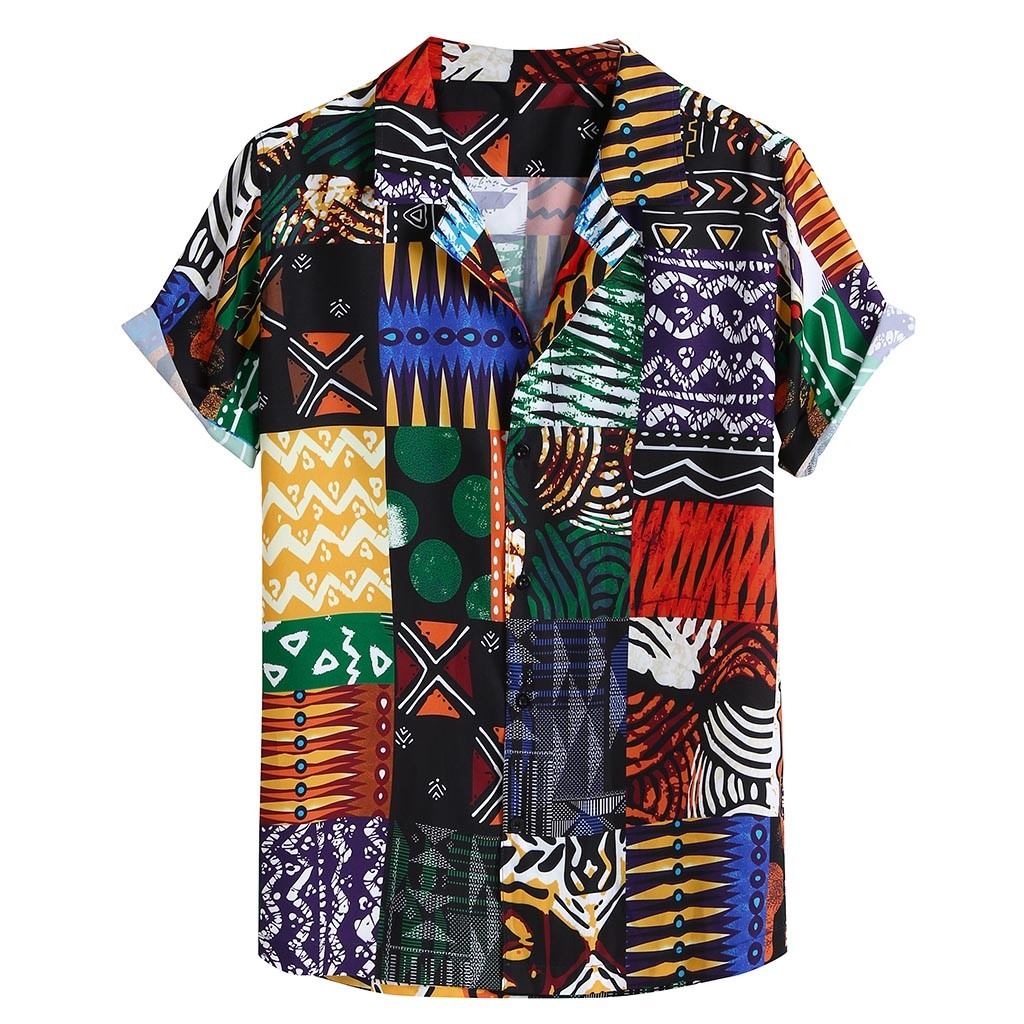Womail New Arrival Vintage Cotton Men Shirt Short Sleeve Ethnic Style Print Tops 2019 Loose Hawaiian Shirts Men Streetwear 1