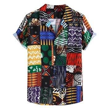 Womail New Arrival Vintage Cotton Men Shirt Short Sleeve Ethnic Style Print Tops 2019 Loose Hawaiian Shirts Men Streetwear 1