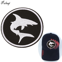 Pulaqi Shark Fish Appliques Motorcycle Jacket Biker Vest Patch For Clothes Embroidered Iron On Badges Patches Accessories H pulaqi punk rock bike patches embroidery biker appliques motorcycle iron on patches for clothes jeans vest jacket back patch h