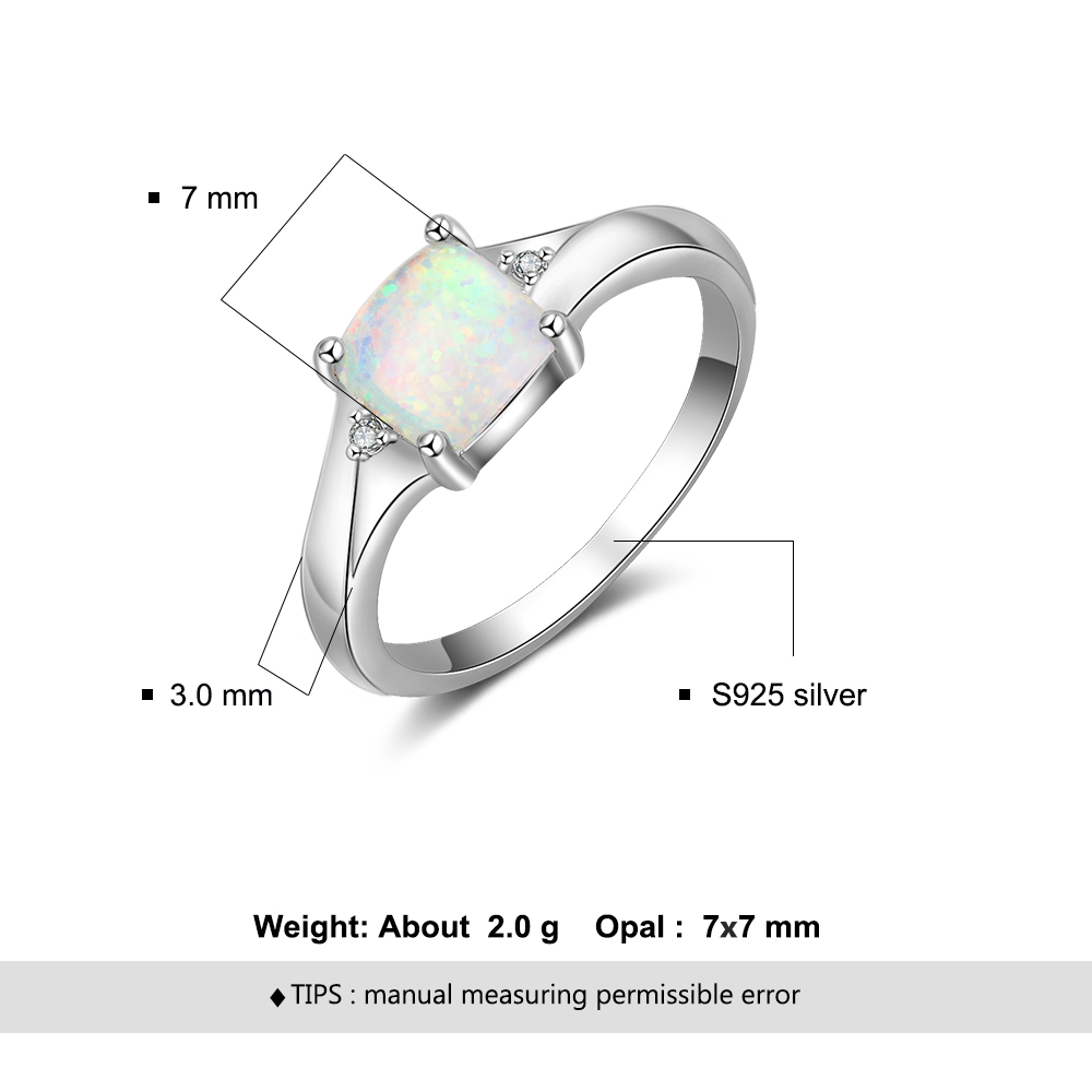 Women 925 Sterling Silver Rings Cubic Zirconia Square Created White Opal Rings for Girls Size 6 7 8 Finger Jewelry Lam Hub Fong in Rings from Jewelry Accessories