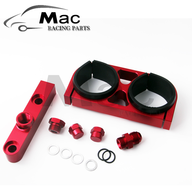 UNIVERSAL 52MM RED ANODIZED BILLET FUEL PUMP FILTER MOUNTING BRACKET