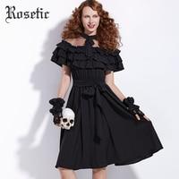 Rosetic Cute Bow Lace Ruffles Black Maxi Dress Women Summer Butterfly Sleeve A Line Draped Fashion
