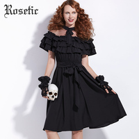 Rosetic Cute Bow Lace Ruffles Black Maxi Dress Women Summer Butterfly Sleeve A Line Draped Fashion