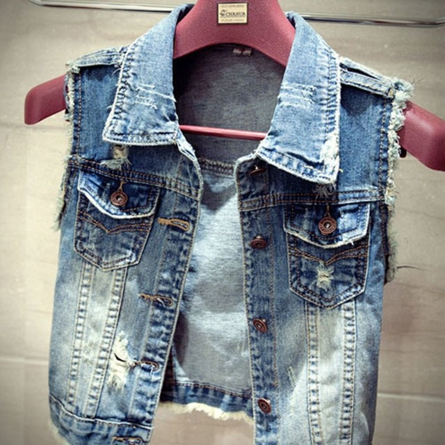 Jampelle Stylish Ripped Jeans Women Spring Fall Vintage Denim Waistcoat Ladies Coat