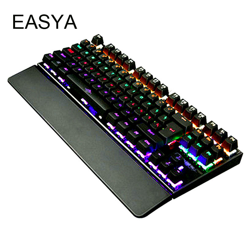 EASYA Mechanical Keyboard 87 Keys Backlit Gaming Colorful LED USB Wired Game Keyboard Full Size Blue Switch for Computer Use