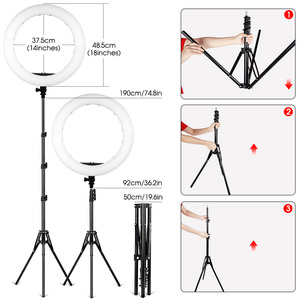 Image 3 - Travor 18 inch LED Ring Light Dimmable Bi color 512PCS Annular Lamp With Tripod For Studio Photography Lighting Ring Lamp